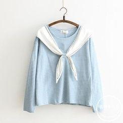 PANDAGO - Bow Striped Long Sleeve T-Shirt