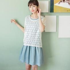 OrangeBear - Set: Lace Top + Sleeveless Dress