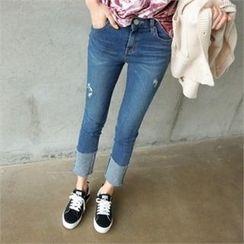 PINKSISLY - Cuffed-Hem Straight-Cut Jeans