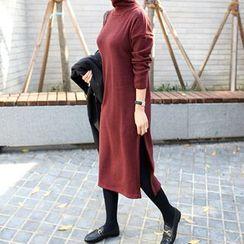 STYLEBYYAM - Turtle-Neck Slit-Side Long Dress