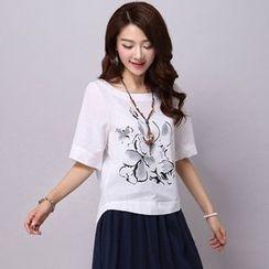 chic n' fab - Elbow-Sleeve Printed T-Shirt