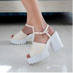 Tomma - 厚底粗跟星星飾物涼鞋