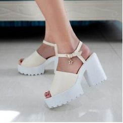 Tomma - Platform Block Heel Star Charm Sandals