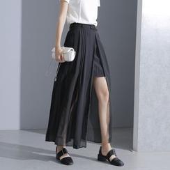 Sonne - Mock Two-Piece Chiffon Midi Skirt