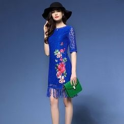 Elabo - Embroidered Short Sleeve Fringe Lace Dress