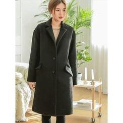 LOLOten - Wide-Lapel Single-Breasted Wool Blend Coat