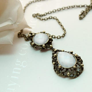 Fit-to-Kill - Vintage Water Drop with Crystal Long Necklace