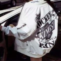 HAZEL - Lettering Zip Jacket