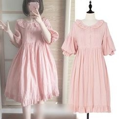 GOGO Girl - 皺摺邊中袖連衣裙
