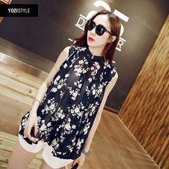 YOZI - Floral Sleeveless Chiffon Shirt