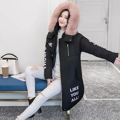 Aigan - Furry-Trim Hooded Lettering Padded Coat