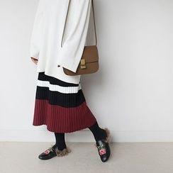 STYLEBYYAM - Band-Waist Color-Block Pleated Long Skirt