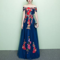 Rosita - Floral Embroidered Off-Shoulder Evening Gown