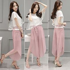 Ashlee - Set: Short Sleeve Organza Overlay T-Shirt + Chiffon Wide Leg Pants