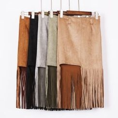 City of Dawn - Fringed Pencil Skirt