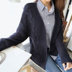 Hello sweety - Open-Front Cable-Knit Cardigan