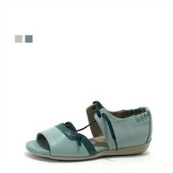 MODELSIS - Genuine Leather Color-Block Sandals