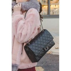 migunstyle - Snap-Button Quilted Shoulder Bag