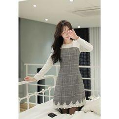 MyFiona - Glen-Plaid Lace-Trim Sheath Dress