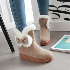 Shoes Galore - Bow Hidden Wedge Short Snow Boots
