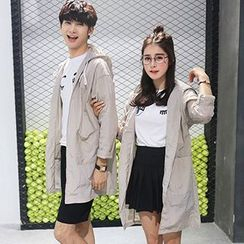 Azure - Couple Matching Hooded Long Light Jacket