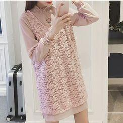 Ashlee - 套装: 纯色长袖连衣裙 + 蕾丝背心裙