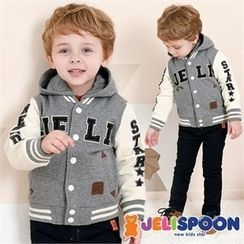 JELISPOON - Kids Hooded Appliqué Baseball Jacket