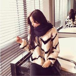Angel Shine - Chevron Patterned Furry Coat