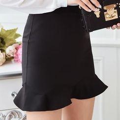 looknice - Ruffle Hem Mini Skirt