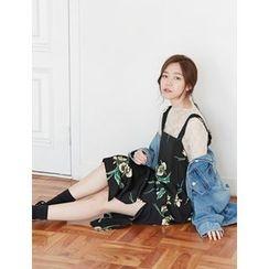 FROMBEGINNING - Slit-Side Floral Long Jumper Dress