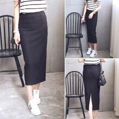 QZ Lady - Back-slit Pencil Midi Skirt