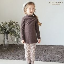LILIPURRI - Girls Set: Mock-Neck Brushed-Fleece Pullover + Band-Waist Patterned Pants