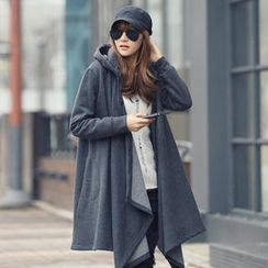 REDOPIN - Brushed Fleece Contrast-Trim Hooded Coat