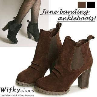 Wifky - Faux-Suede Block-Heel Ankle Boots