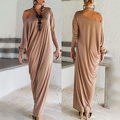 Hotprint - Off-shoulder Long-Sleeve Dress