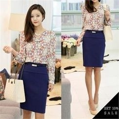 COCOAVENUE - Set: Floral-Print V-Neck Blouse + Pencil Skirt