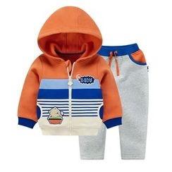 Ansel's - 童裝套裝: 條紋連帽外套 + 運動褲