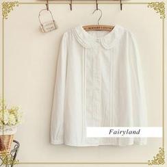 布衣天使 - 刺繡多層領口長袖襯衫