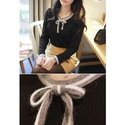 MyFiona - Bow-Front Long-Sleeve Top