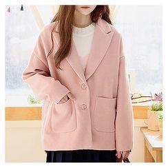 Sechuna - Peaked-Lapel Drop-Shoulder Coat