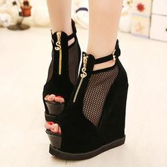 Mancienne - Mesh-Panel Wedge Sandals