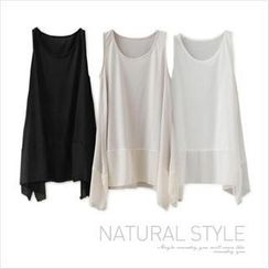 GOROKE - Sleeveless Chiffon Hem Top