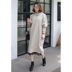 Miamasvin - Tab-Detail Cotton Shift Dress