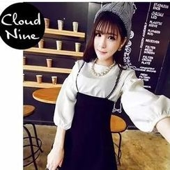 Cloud Nine - Set: 3/4-Sleeve Blouse + High Waist Jumper Skirt