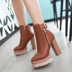 Pastel Pairs - Platform Heeled Ankle Boots