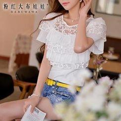 Dabuwawa - Short-Sleeve Lace-Overlay Top
