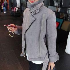 Seoul Fashion - Diagonal-Zip Faux-Shearling Jacket