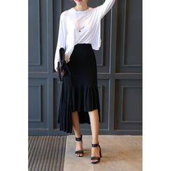 migunstyle - Ruffle-Hem Midi Skirt