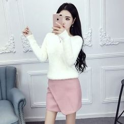 Phyllis - Set : Mohair Knit Top + Skirt