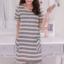 Q.C.T - Striped Short-Sleeve A-Line Dress